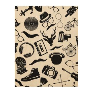 Black Pattern Hipster Wood Print