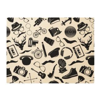 Black Pattern Hipster Wood Wall Art