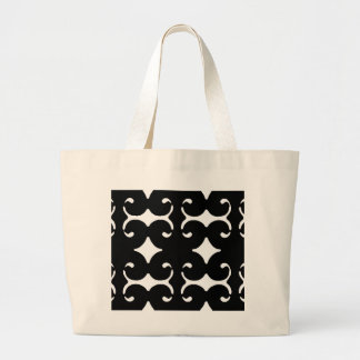 Black Pattern Large Tote Bag