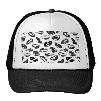 Black Pattern Lips Cap