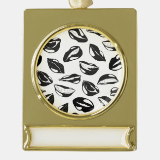 Black Pattern Lips Gold Plated Banner Ornament