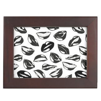 Black Pattern Lips Memory Box