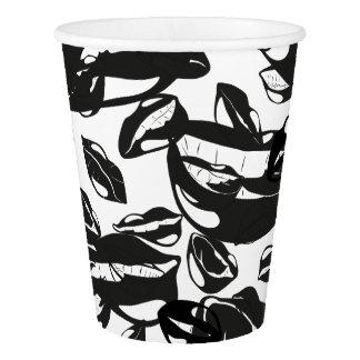 Black Pattern Lips Paper Cup