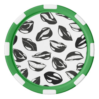 Black Pattern Lips Poker Chips