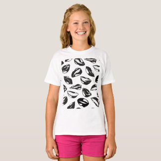 Black Pattern Lips T-Shirt