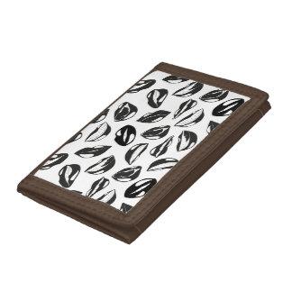Black Pattern Lips Tri-fold Wallet