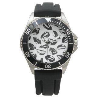 Black Pattern Lips Watch