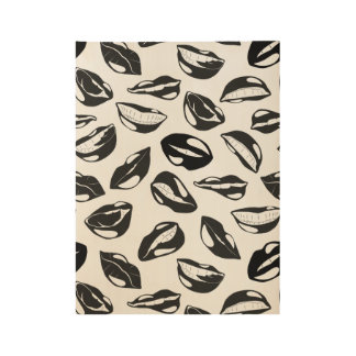 Black Pattern Lips Wood Poster