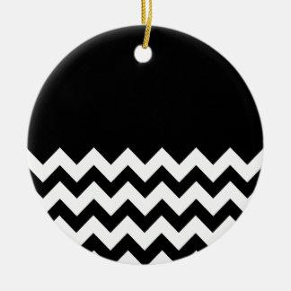 Black-Pattern-On-Black-&-White-Zigzag Christmas Tree Ornaments