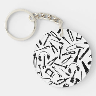 Black Pattern Tools Double-Sided Round Acrylic Key Ring