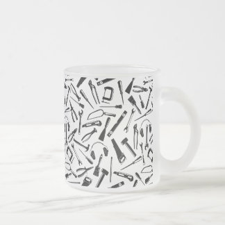 Black Pattern Tools Frosted Glass Coffee Mug