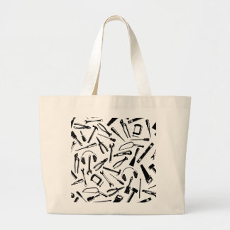 Black Pattern Tools Large Tote Bag