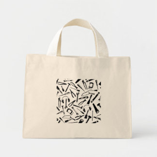 Black Pattern Tools Mini Tote Bag