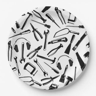 Black Pattern Tools Paper Plate