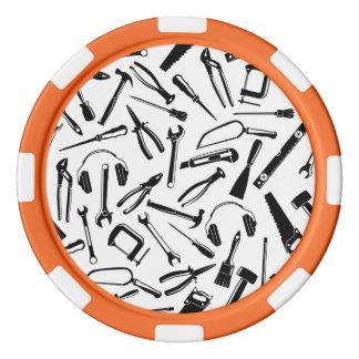 Black Pattern Tools Set Of Poker Chips