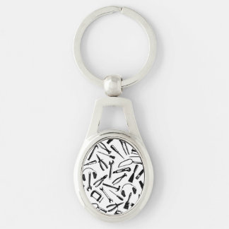 Black Pattern Tools Silver-Colored Oval Key Ring
