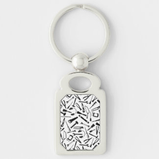 Black Pattern Tools Silver-Colored Rectangle Key Ring