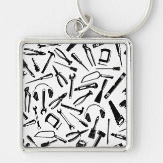 Black Pattern Tools Silver-Colored Square Key Ring