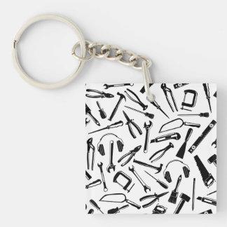 Black Pattern Tools Single-Sided Square Acrylic Key Ring