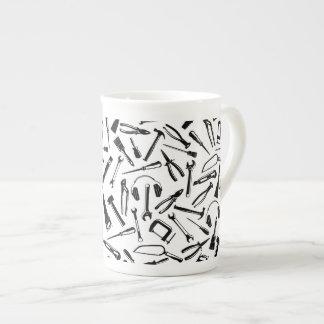 Black Pattern Tools Tea Cup