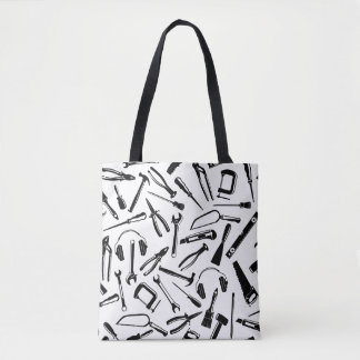 Black Pattern Tools Tote Bag