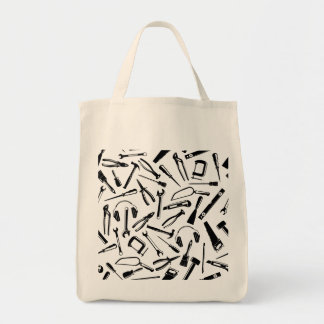 Black Pattern Tools Tote Bag