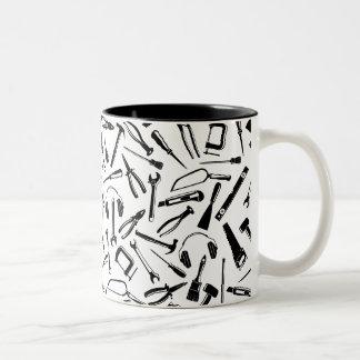 Black Pattern Tools Two-Tone Coffee Mug