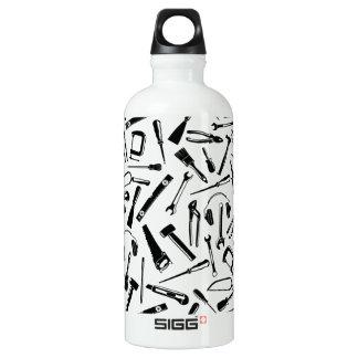 Black Pattern Tools Water Bottle