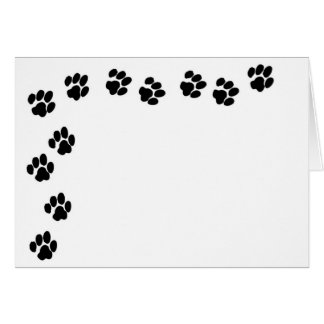 Black Paw Print Note Card