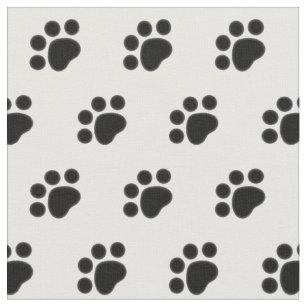 Black Paw Print Pattern Fabric