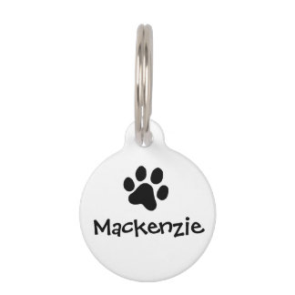 Black Paw Print Pet Name Tags