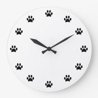 Black Paw Prints as Numbers Large Clock