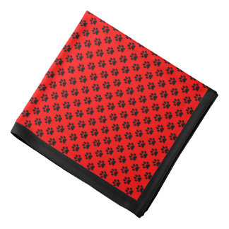 Black Paw Prints on Red, Black Border Bandana