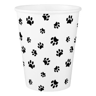 Black Paw Prints Paper Cup