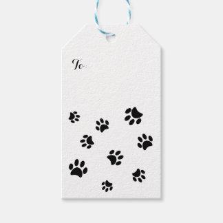 Black Paw Prints Pattern Gift Tags