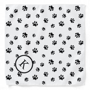 Black Paw Prints Pattern Monogram Bandana