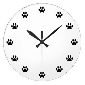Black Paw Prints Wall Clock