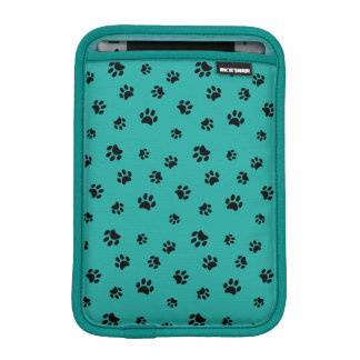 Black Paw Prints with Peacock Turquoise Sleeve For iPad Mini