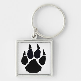 Black Pawprint Key Ring