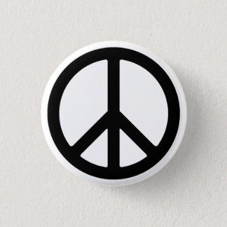 Black Peace Symbol Button