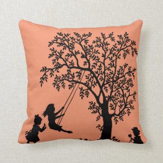 Black peach Abstract Tree kids playing pillow Throw Cushion
