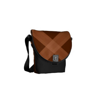 Black Peach And Brown Plaid Pattern Bag Courier Bag