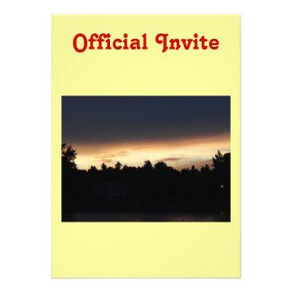 Black Peach Sunset Over Lake Swan Georgia Invitations