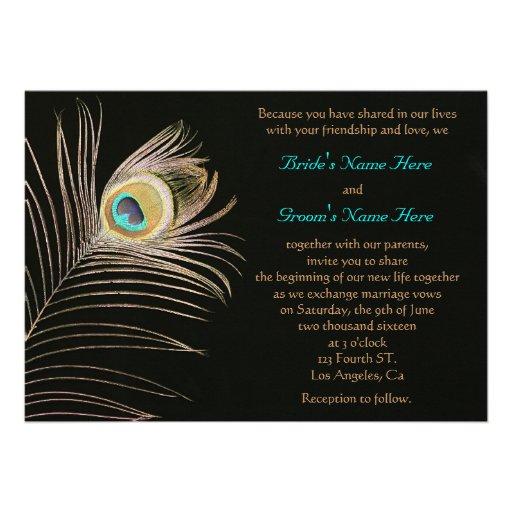 Black Peackock Wedding Invitation