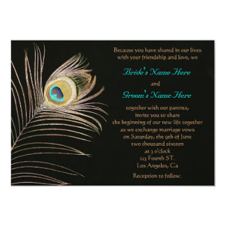 Black Peackock Wedding Invitation