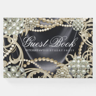 Black Pearl Womans Birthday Party Guest Book