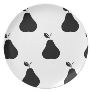 Black Pears on White Plate