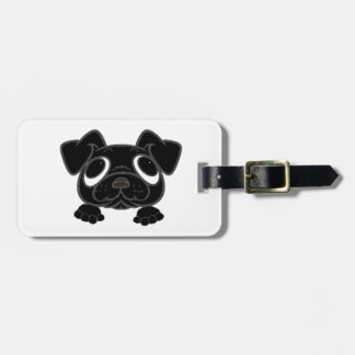 black peeking pug luggage tag