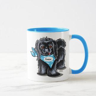 Black Pekingese Pet Name Personalized Blue Mug