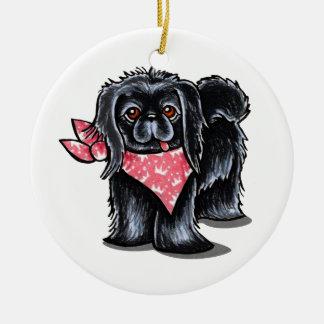 Black Pekingese Pink Princess Ceramic Ornament